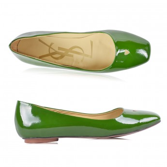 Yves Saint Laurent Patent Leather Green Love Ballerina Flats ...